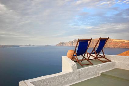 Sunbeds on Santorini