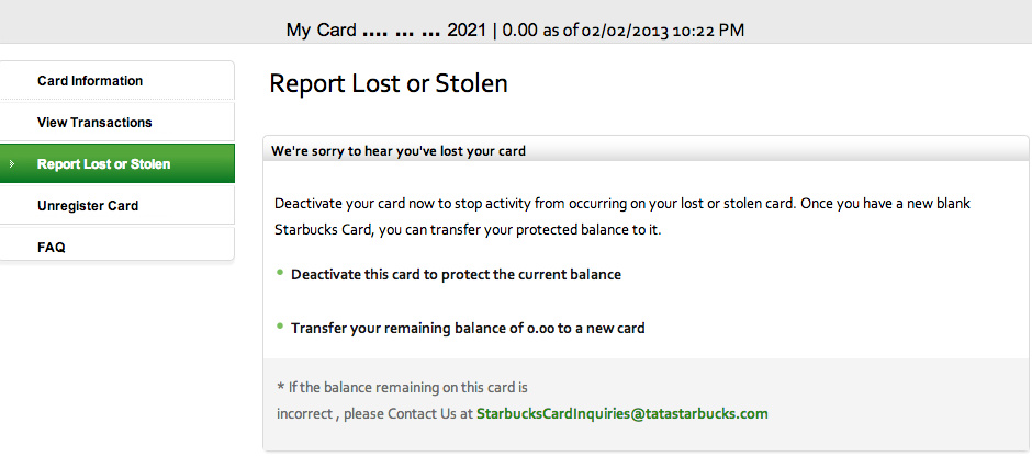 Starbucks India Card: Report Lost or Stolen
