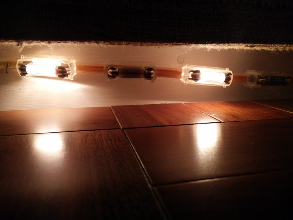Some of the bulbs above the bed were fused and some missing. Probably no one noticed.
