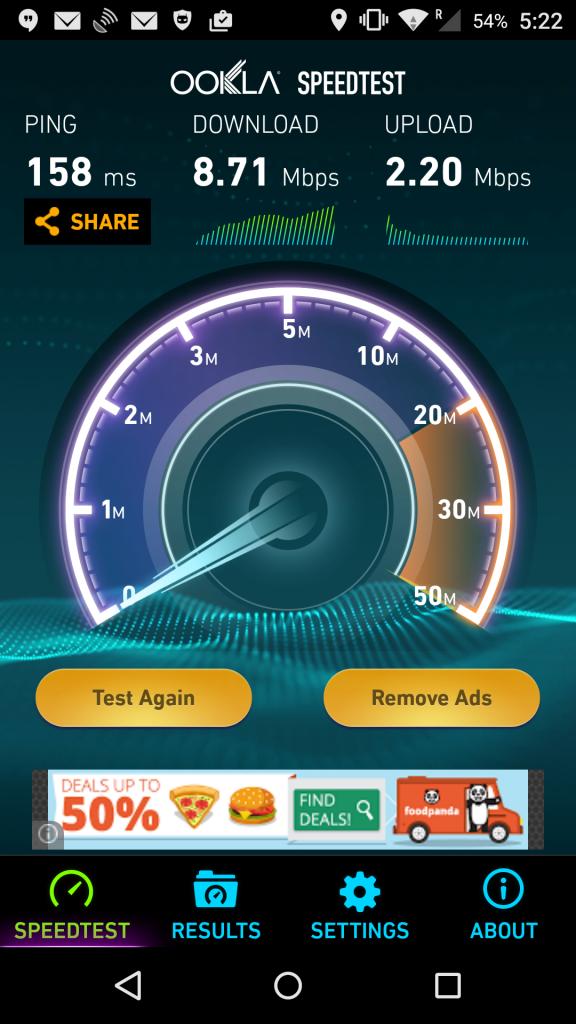 UberWiFi speed test in Delhi.