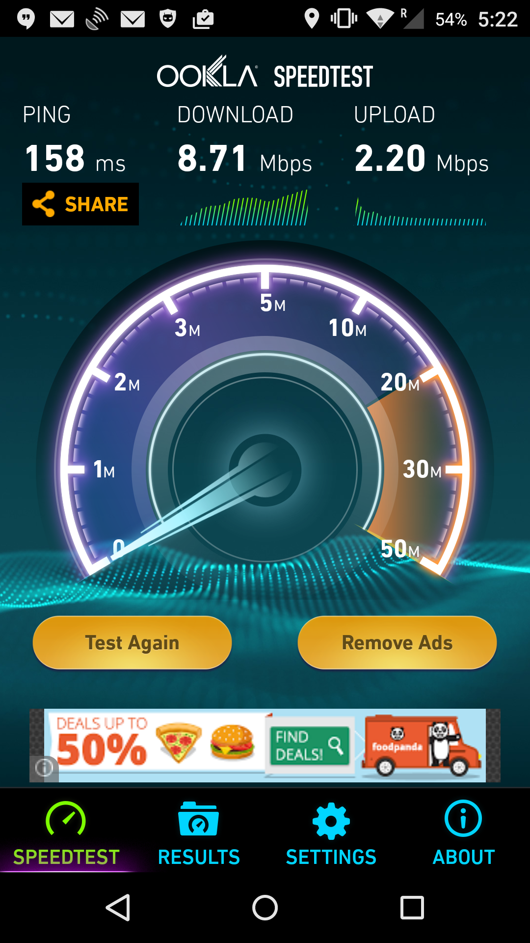 UberWiFi speed test in Delhi.